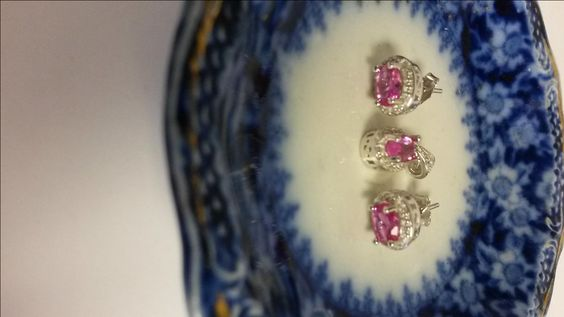 Estate Sterling Silver 925 Pink Oval Ice 1.5cts Sapphire Genuine Diamonds Studs Pendant Earrings Stunning S170