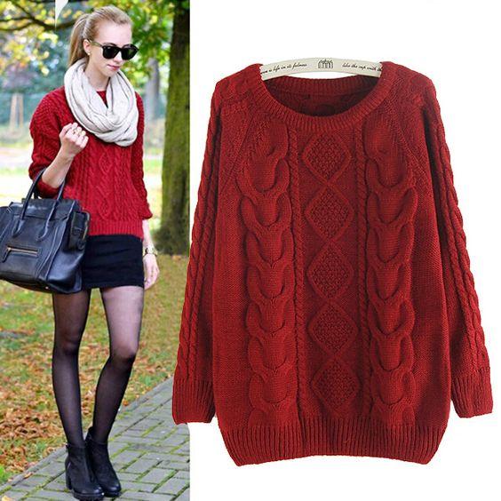 Aliexpress.com: Comprar La sra. de moda nuevo jersey giro suéter flojo suéter femenino de suéter de puente fiable proveedores en COLIN'S