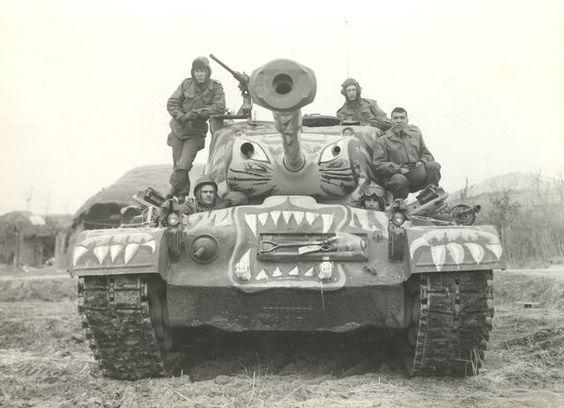 Levitating American medium tank М48А3. The war in Vietnam, 1964-1975.