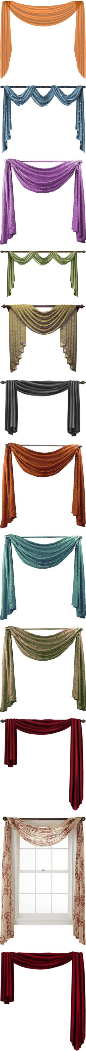 Scarf Valances by justkath on Polyvore featuring home, home decor, window treatments, curtains, drapes, furniture, scarf window treatments, scarf curtains, art and backgrounds