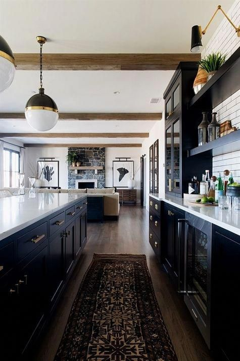 Farmhouse Black Cabinet Kitchen With Vintage Runner And Beams More Source On Home Bunch Bar F Interior Design