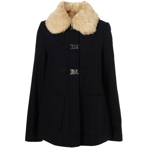Short Fur Collar Swing Coat ($150) ❤ liked on Polyvore