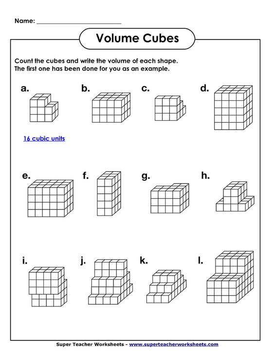 Volume Geometry with Cubic Units PDF – 6th Grade Math Worksheets Pdf