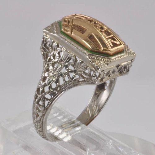 Vintage Women s Class Ring White Gold Filigree Art Deco 1929 10KT