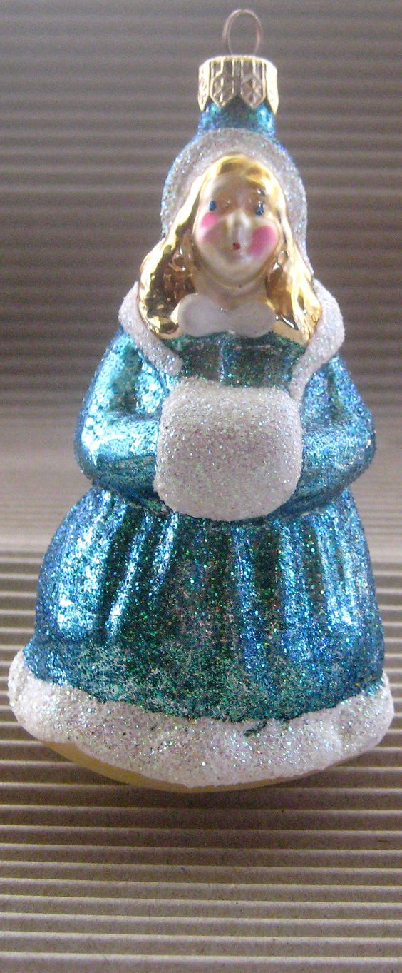 Blown glass snow girl from Germany