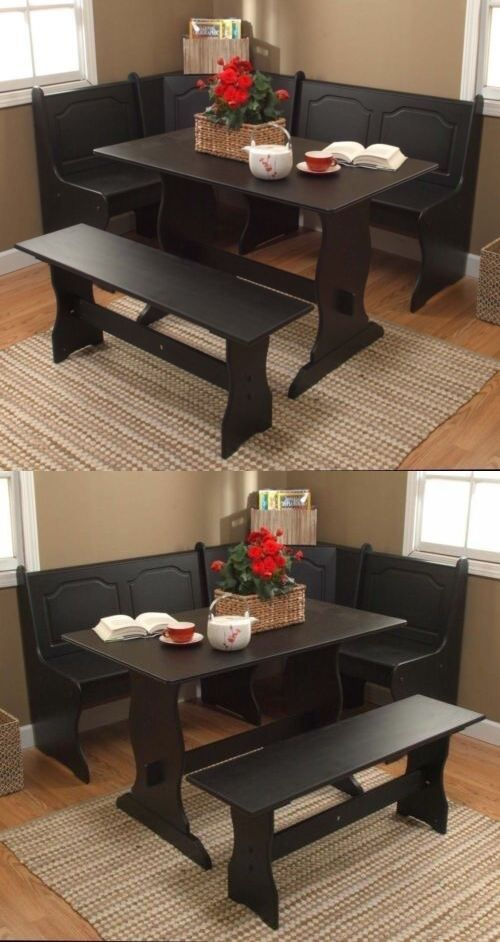 3 Pc Black Wooden Breakfast Nook Dining Set Corner Booth Bench