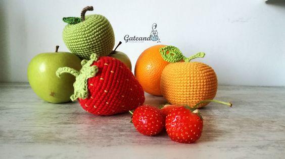 Pack 3 frutas amigurumi. fruits. Crochet. Juguete. Cocinitas. Picnic. Sonajero. Decoración. de GateandoCrochet en Etsy