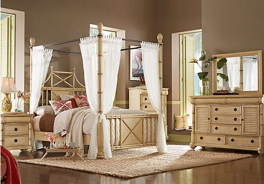Cindy Crawford Home Key West Sand 6 Pc Queen Canopy X Bedroom ...