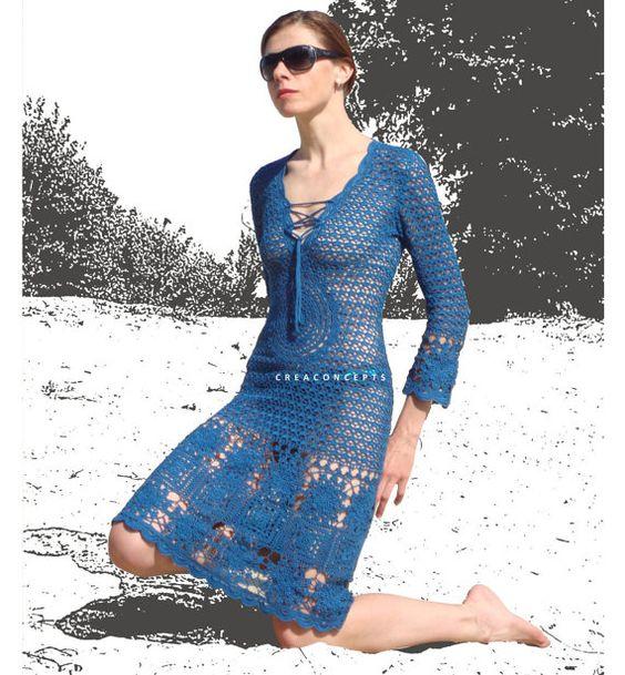 Crochet designer dress PATTERN 3/4 sleeves by CONCEPTcreative, $15.00