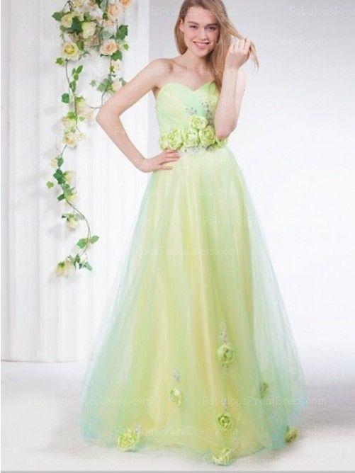 A-line Sweetheart Hand-Made Flower Sleeveless Floor-length Tulle Prom Dress