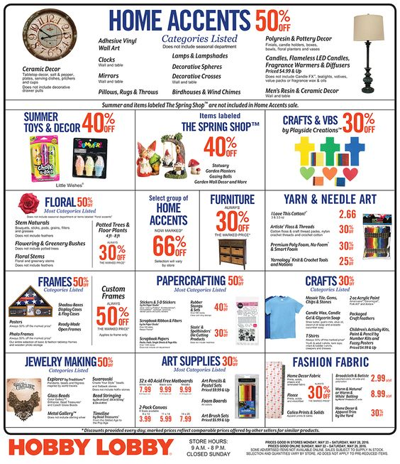 Hobby Lobby Weekly Ad May 22 - 28, 2016 - http://www.olcatalog.com/grocery/hobby-lobby-weekly-ad.html