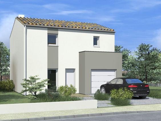 maison tendance avec son garage en avanc e cubique sur la fa ade et ses deux couleurs d 39 enduit. Black Bedroom Furniture Sets. Home Design Ideas