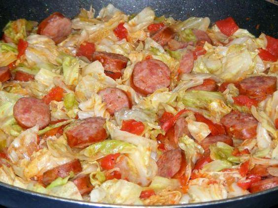 Cabbage smoked sausage pasta recipe