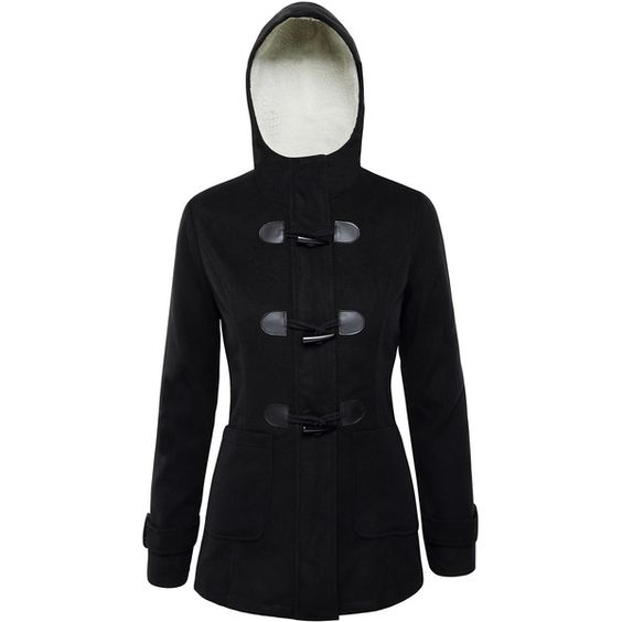 Rotita Black Hooded Toggle Duffle Coat ($42) ❤ liked on Polyvore