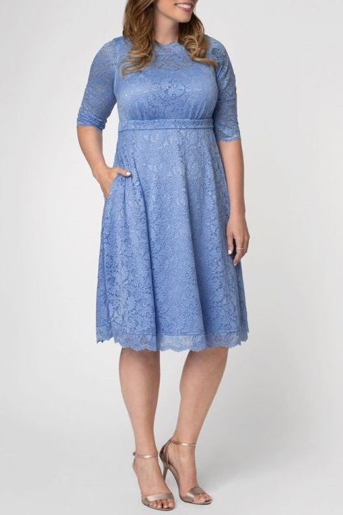 Plus Size Lace Dresses With Sleeves The Perfect Style Plus Size 3 4 Length Sleeve Lace Dress In 2020 Plus Size Lace Dress Cocktail Dress Sale Long Sleeve Cocktail Dress
