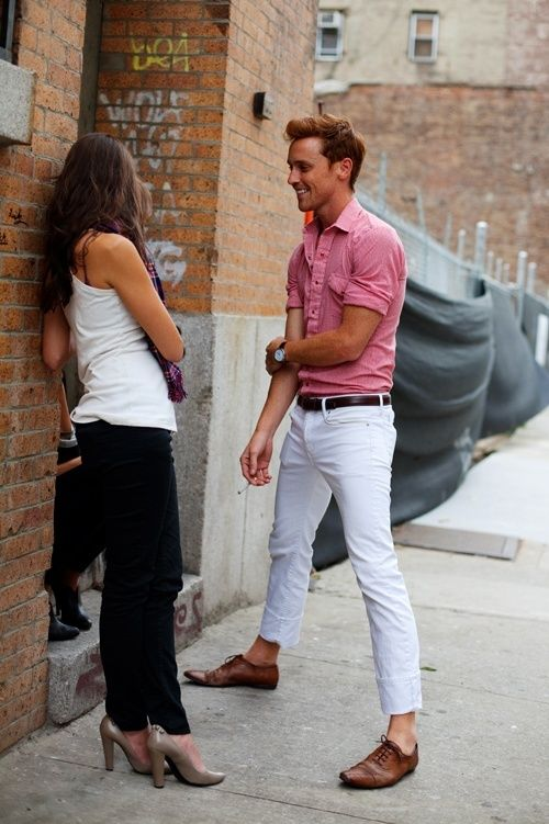 White pants + Red Top/ Shirts