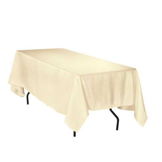 Rectangular Square Point Damask Tablecloth Ivory
