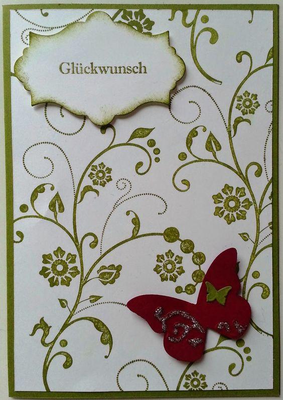 Tanja´s Stempel Zauberland: GlückwunschkartenPapier/Farbe: Olivgrün, Flüster...