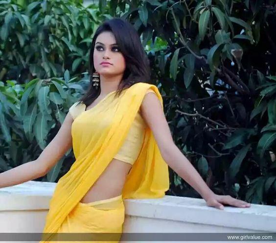 smart girl in yellow saree tamil ponnu pinterest