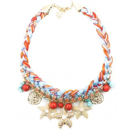 NEED THIS:  Threaded Nautical Necklace - Blue/Coral