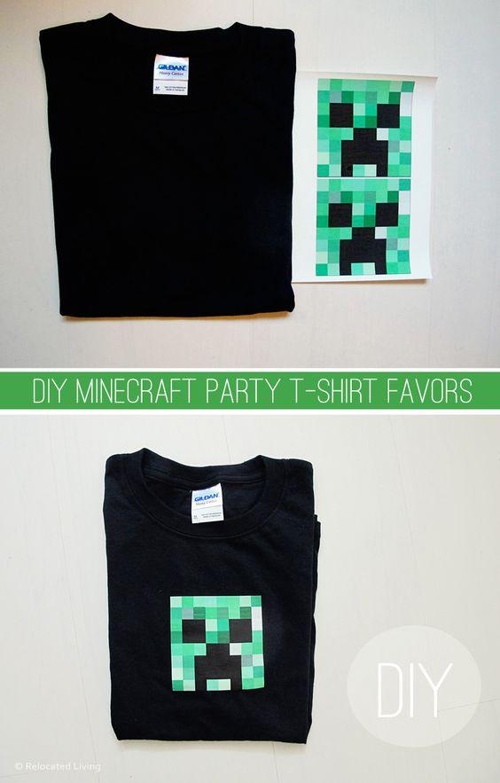 DIY Minecraft T-Shirt Party Favor
