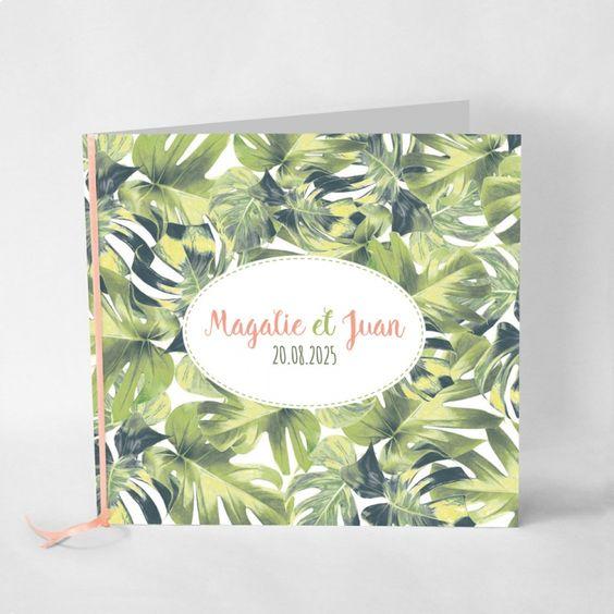 Faire-part de mariage Foret tropicale Thème exotique, ambiance tropicale ! Faire-part imprimé sur papier épais mat avec une légère texture de papier recyclé pour un aspect encoure plus naturel...