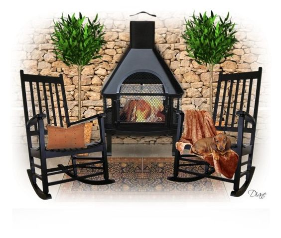"""""""Patio Fireplace"""" by diane-hansen ❤ liked on Polyvore featuring interior, interiors, interior design, home, home decor, interior decorating, Bungalow Flooring and INC International Concepts"""