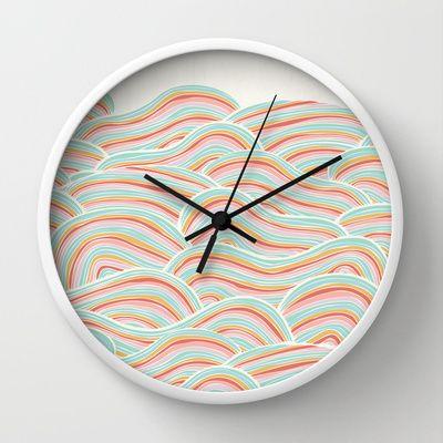 Summer Sea Waves Wall Clock by Pom Graphic Design  - $30.00 #wallclock #homedecor #decor #accentdecor #seawaves #waves #nautical #nauticaldecor #summer #clock #forthehome