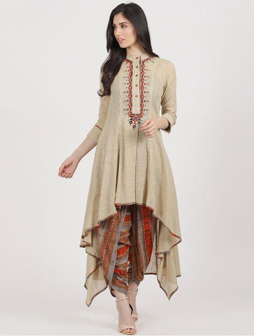 Indian Women/'s Dhoti Ethnic Dress Salwar Wedding Party Off-White Black viscose