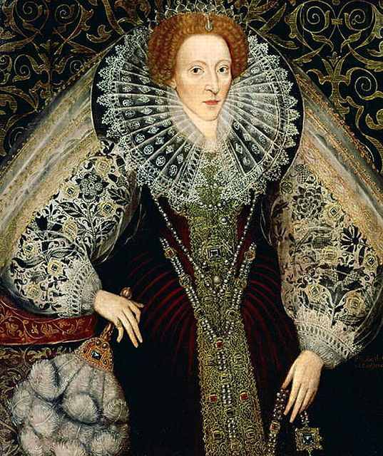 Elizabeth I by Bettes. Here we can clearly see the blackwork embroidery on the Queen's sleeves. The Tudor rose is prominent. When the heraldic Tudor rose appears on her ladies' clothing it is more than likely that the item has come from the Queen. Wearing an item of dress given to you by the Queen would signal that you stood high in her favour.