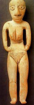 Exemple d'idole féminine en ivoire trouvée parmi les vestiges de la culture badarienne, Egypte.