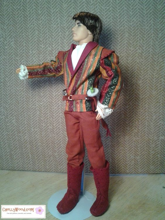 Ken (Ryan) doll will be playing Tybalt in my upcoming production of Romeo and Juliet. I designed his costume and others found on my website. Doll clothes pattern dowloads are free.