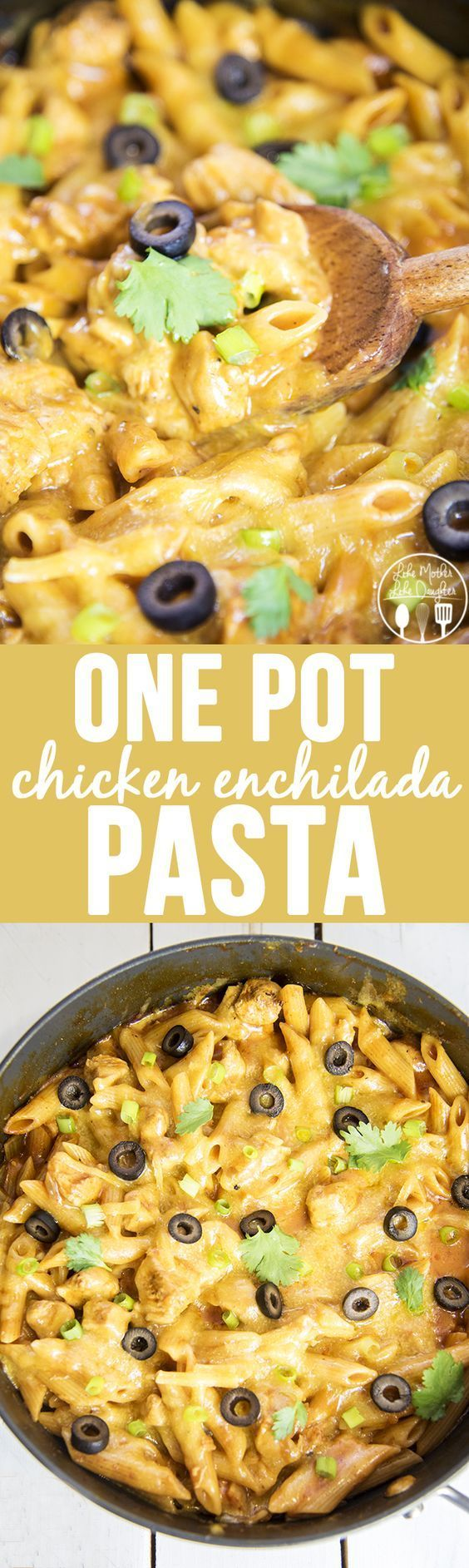 One Pot Chicken Enchilada Pasta Recipe - only 25 minutes to make! | Like Mother, Like Daughter - The Best Easy One Pot Pasta Family Dinner Recipes #onepotpasta #onepotmeals #pastarecipes #onepotpastarecipes #onepotrecipes #mealprep #pasta #simplefamilymeals #simplefamilyrecipes #simplerecipes