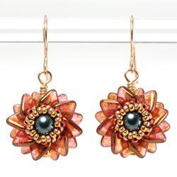 *P Double Pinwheel Beaded Bead Earrings by Cindy Holsclaw