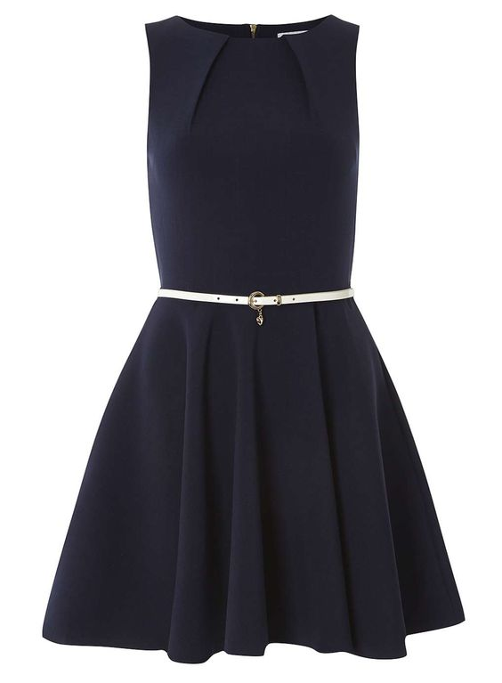 **Closet Navy Flared Belted Dress