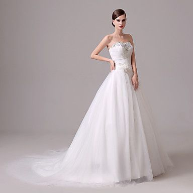 Wedding Dress - Ivory Court Train Sweetheart Crepe 2016 - $109.99