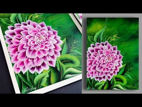 Easy Satisfying Acrylic Painting Demonstration Floral Painting Dahlia Day 7 Youtube Flower Painting Canvas Floral Painting Flower Painting