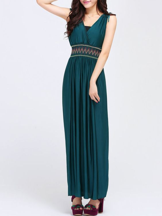Zigzag Striped Bowknot Delightful V Neck Maxi-dress, I found a nice product on Fashionmia, open to see it.