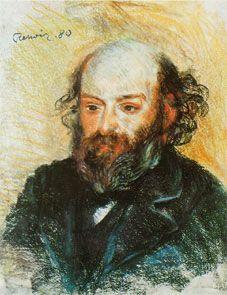 Portrait de Paul Cézanne, 1880, par Renoir, pastel sur papier. - En 1864-70, le romantisme de ses paysages, Les Toits rouges, La Neige fondue à L'Estaque, est rendu par la violence des tons, les lourds empâtements posés en larges aplats, le désordre fougueux et volontairement excessif des volumes. Cette 1° manière emprunte souvent ses formes aux maîtres du passé, Véronèse, Rubens, Vélasquez, Le Tintoret, que Cézanne admire.