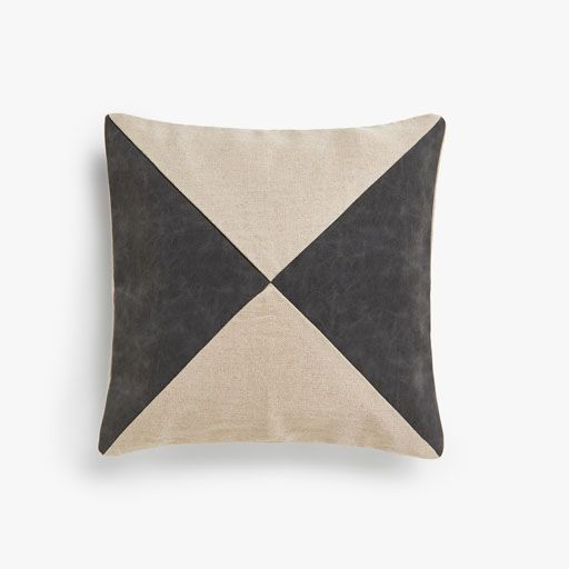 Image Of The Product Faux Leather Appliqué Linen Cushion Cover Pillows Throw Pillows Linen Throw Pillow