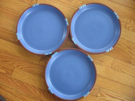3 DANSK MESA SKY BLUE DINNER PLATES 10-5/8  PORTUGAL EUC