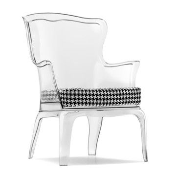 it's acrylic, clear AND has a houndstooth seat cushion! Must have it!