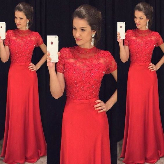 Red Prom Dresses,Prom Dress,Red Prom Gown,Lace Prom Gowns,Elegant Evening Dress,Modest Evening Gowns,Simple Party Gowns,2016 Lace Prom Dress
