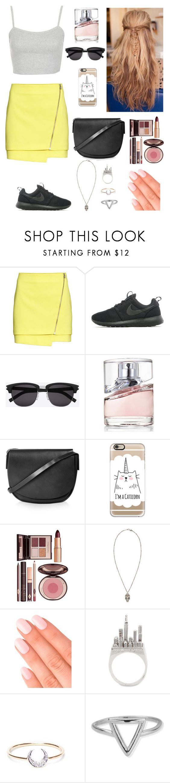 """Untitled #338"" by e-ema ❤ liked on Polyvore featuring H&M, Topshop, NIKE, Yves Saint Laurent, BOSS Hugo Boss, Casetify, Charlotte Tilbury, Alexander McQueen, Elegant Touch and Anello"