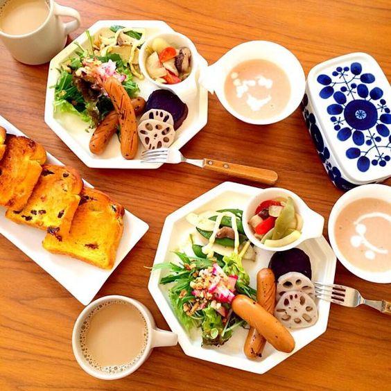 野菜たっぷり朝ごはん。 スープはトマトとカリフラワーのポタージュ。 - 89件のもぐもぐ - 朝ごはん。 by celldivision