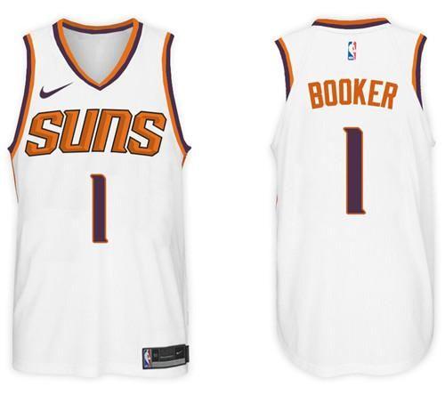 promo code ec230 0edba Men 1 Devin Booker Jersey White Phoenix Suns Jersey ...