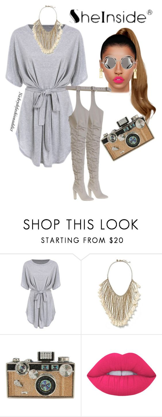 """""""Untitled #1573"""" by stylesbynickey ❤ liked on Polyvore featuring Banana Republic, Judith Leiber, Lime Crime, Eddie Borgo and Chanel"""