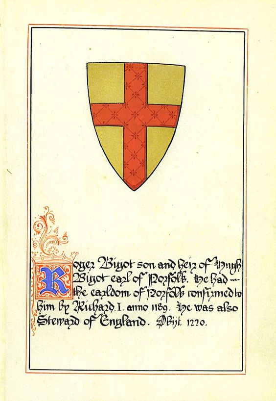 Roger Bigod, 2nd Earl of Norfolk, Magna Carta surety, (c. 1144/1150 – 1221) was the son of Hugh Bigod, 1st Earl of Norfolk & his first wife, Juliana de Vere.  Roger married Ida de Tosny.  Among their children were Hugh Bigod, 3rd Earl of Norfolk who married Maud, a daughter of William Marshal, & Mary Bigod, who married Ralph fitz Robert.  Brother Robert de Stafford, builder of Stafford Castle.:
