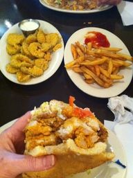 Seafood Muffaletta from Parran: Food Seafood, Seafood Muffaletta, Food Favorite, French Fries, Food Drink, Parrans Poboys, Fried Pickles, Mouth Wide