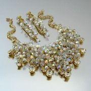 SOLD JULIANA Bib Necklace Earrings Dangle Set - Vintage D DeLizza Elster Faux Pearl ...